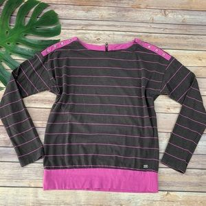 Carve Designs gray and pink stripe long sleeve top